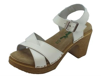 Sandali BioNatura per donna in pelle bianca comodo tacco alto
