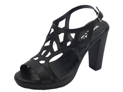 Sandali Mercante di Fiori in pelle nera tacco alto e plateau