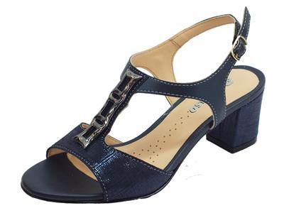Articolo Sandali per donna Melluso in pelle satinata blu tacco 6cm