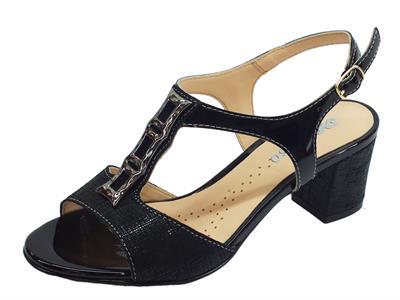 Articolo Sandali per donna Melluso in pelle satinata nera tacco 6cm