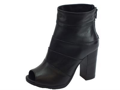 Sandali spuntati Deky per donna in pelle nera tacco alto