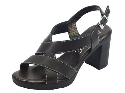 Articolo Susimoda D.EFFE sandali per donna in vera pelle nera tacco alto effetto legno