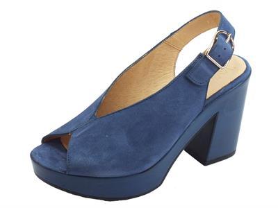 Articolo Wonders Ante V Sandali per donna in camoscio blu tacco altissimo e plateau