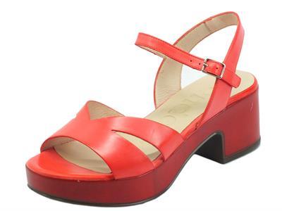 Wonders D8810 Pergamena Rojo Sandali per Donna in pelle rossa tacco medio e plateau