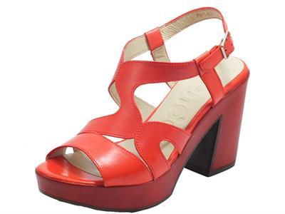 Articolo Wonders L-9162 Pergamena Rojo Sandali per Donna in pelle tacco alto e plateau rossi