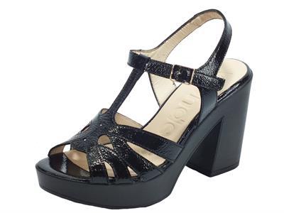Articolo Wonders L-9164 Lack V Negro Sandali per Donna in pelle verniciata tacco alto e plateau verniciati