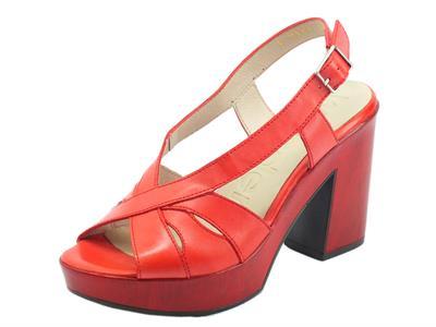 Articolo Wonders L9171 Pergamena Rojo Sandali per Donna in pelle rossa tacco alto e plateau