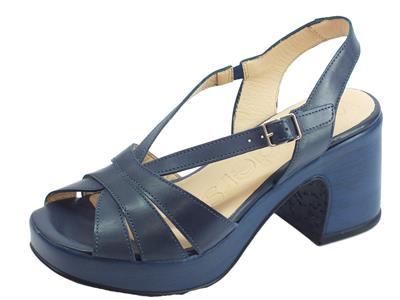 Articolo Wonders Pergamena sandali per donna in pelle blu scuro tacco alto