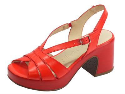 Articolo Wonders Pergamena sandali per donna in pelle rossa tacco alto