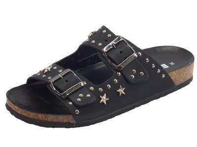 Articolo BioNatura 10 A 2063 Pelle Gaucho Nero sandali in pelle zeppa bassa con stelline