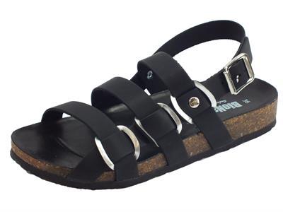 BioNatura 10 A 2066 Pelle Gaucho Nero sandali in pelle nera zeppa bassa