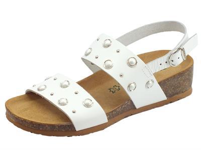 BioNatura 12 A 2058 IMB Vacchetta Bianco sandali in pelle zeppa bassa