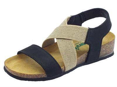 BioNatura 12 A 998 IMB Nabuk Nero sandali in pelle Nero e tessuto  zeppa bassa