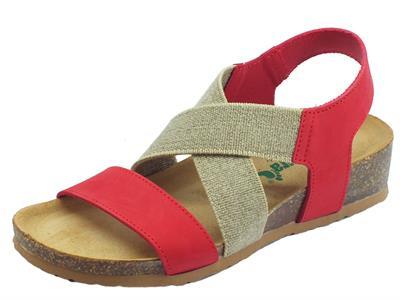 Articolo BioNatura 12 A 998 IMB Nabuk New Coral sandali in pelle rossa e tessuto zeppa bassa