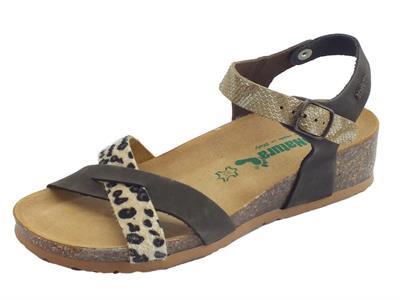BioNatura 12 Fregene IMB Multi Animal sandali zeppa bassa con fibbietta