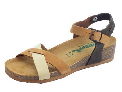 Articolo BioNatura 12 Fregene IMB Nabuk Multi Cogn sandali zeppa bassa con fibbietta