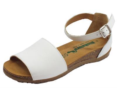 Articolo BioNatura 34 A 2004 IMB Nappa Bianco sandali in pelle bianca con zeppa bassa