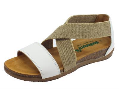 Articolo BioNatura 34 A 825 IMB Nappa Bianco sandali in pelle bianca e tessuto beige