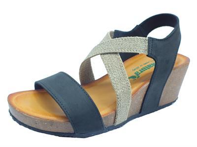 Articolo BioNatura 37 A 894 IMB T Nabuk Nero Sandali Donna in pelle con calzata elastica e zeppa alta