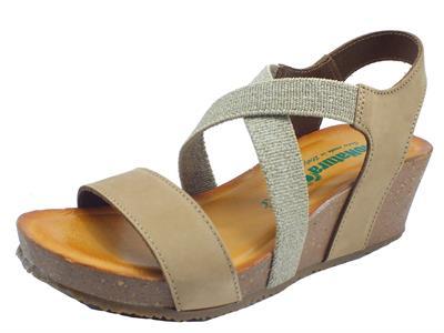 Articolo BioNatura 37 A 894 IMB T Nabuk Tortora Sandali Donna in pelle con calzata elastica e zeppa alta