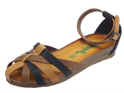 Articolo BioNatura 68 A 2078 IMB Pelle Gaucho Multi Cogn sandali in pelle multicolore cognac con zeppa bassa