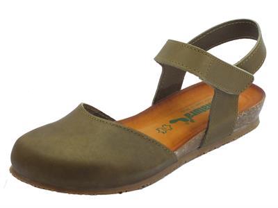 Articolo BioNatura 68 C 2081 IMB Pelle Gaucho Fango sandali chiusi in pelle zeppa bassa