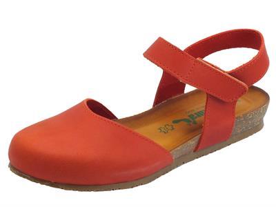 BioNatura 68 C 2081 IMB Pelle Gaucho New Coral sandali chiusi in pelle zeppa bassa
