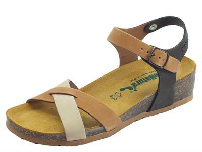 Articolo BioNatura Fregene IMB Nabuk Multi Cogn sandali per donna zeppa bassa multicolore cognac