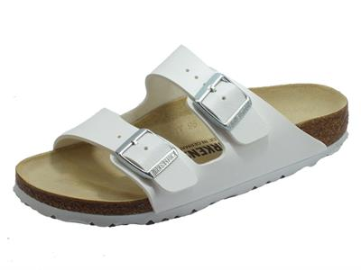 Birkenstock 0051733 Arizona BS White Sandalo per Donna in ecopelle bianca con sottopiede in pelle