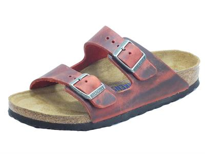 Articolo Birkenstock 1015545 Arizona BS Earth Red Sandalo per Donna in pelle rossa spazzolata nera