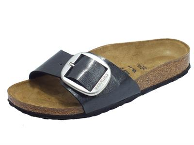 Articolo Birkenstock 1015315 Madrid Big Buckle Graceful Licorice Sandalo Donna ecopelle nera sottopiede pelle