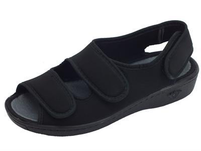Articolo Cinzia Soft sandali ciabatta con tripla chiusura a strappo in tessuto nero