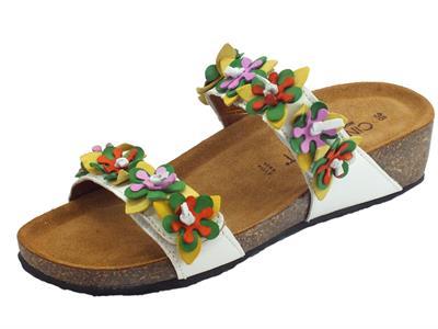 Articolo Cinzia Soft sandali con doppia chiusura a strappo in pelle bianca fuori multicolore