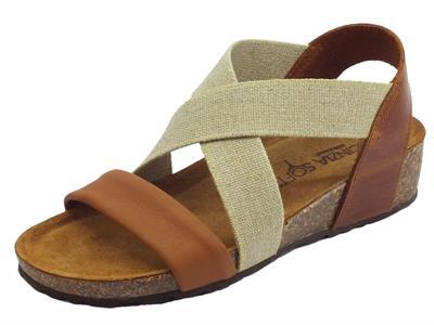 Articolo Cinzia Soft sandali in pelle cognac e cuoio calzata con elastico estetico