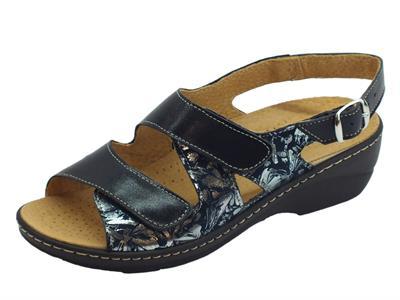 Articolo Cinzia Soft sandali linea comoda pelle e tessuto blu doppio stretch sottopiede pelle