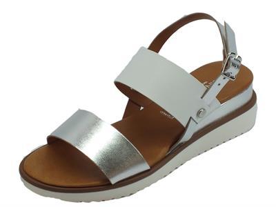 Cinzia Soft sandali per donna pelle bianco ed argento doppia zeppa