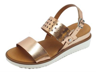Cinzia Soft sandali per donna pelle traforata cipria doppia zeppa