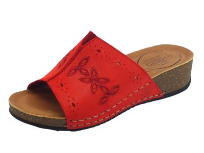 Fly Flot Sandali donna in pelle traforata rossa zeppa bassa