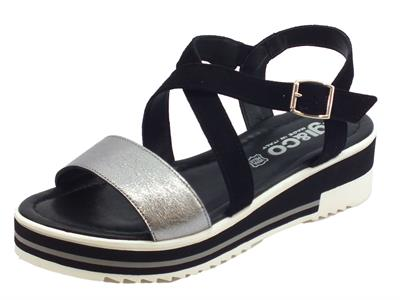 Articolo Igi&Co sandali donna in pelle argento e scamosciato nero zeppa media