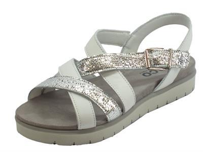 Articolo Igi&Co sandali donna in pelle liscia bianca e squamato argento zeppa media
