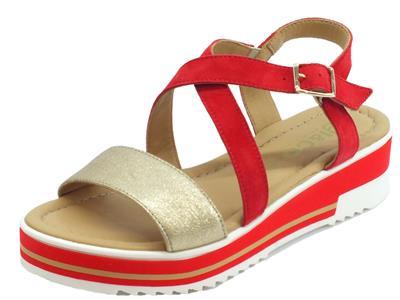 Articolo Igi&Co sandali donna in pelle oro e scamosciato rosso zeppa media