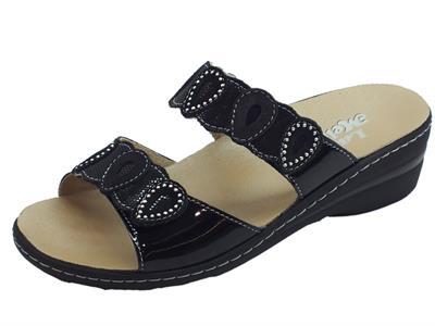 Articolo Melluso sandali donna in vernice nero doppia chiusura a strappo