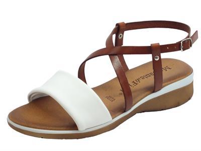 Articolo Mercanti di Fiori sandali donna in pelle bianca e cuoio zeppa bassa