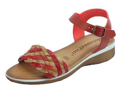 Articolo Mercanti di Fiori sandali donna in pelle intrecciata rossa e marrone zeppa bassa