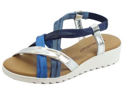 Articolo Mercanti di Fiori sandali donna in pelle multicolore azzurro zeppa bassa