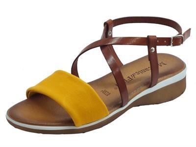 Articolo Mercanti di Fiori sandali donna in pelle ocra e cuoio zeppa bassa