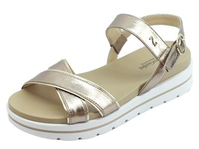 Articolo NeroGiardini P908213D Oxigen Bronzo sandali zeppa bassa in pelle bronzo