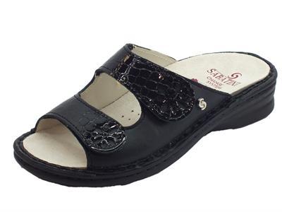 Articolo Sabatini Emma sandali per donna in pelle e cocco nero doppia regolazione a strappo