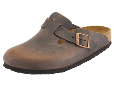 Sandali Boston Habana Birkenstock per donna in pelle ingrassata marrone