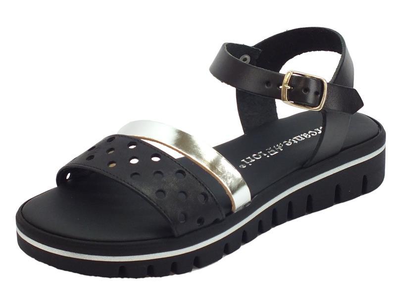 Sandali zeppa bassa Mercante di Fiori pelle nero ed argento - Vitiello  Calzature 9c5440a2486